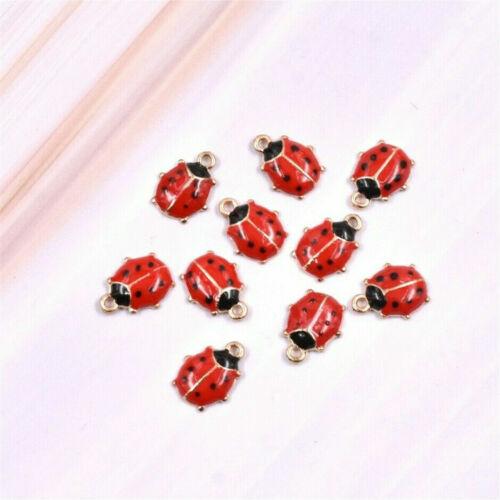 30x Cute Ladybird Ladybug Enamel Charm Pendant For DIY Earrings//Bracelet 11*9MM