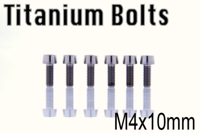 x2 Titanium Ti Bolt M4x10mm Tapered Head Hex M4 10L Bicycle Screw US Seller