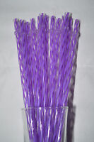 "Reusable Straws Swirly Purple & Clear Plastic Acrylic 9"" With Rings Bpa Free"