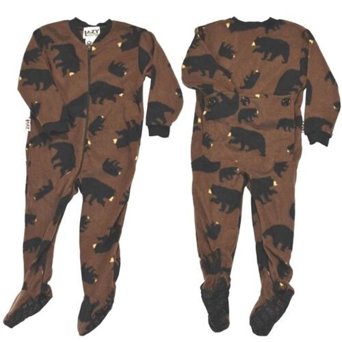 Lazy One Adult  Footeez Footed PJ Lounge Wear Timberland Bear Brown Black