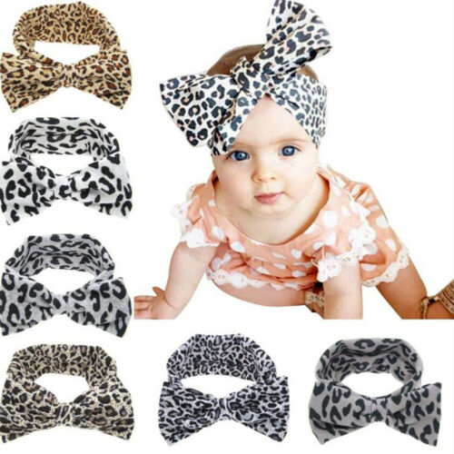 Baby Kids Cute Hot Toddler Bow Hairband Headband Stretch Leopard Knot Head Wrap