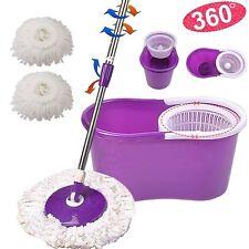 360° Rotating Head Easy Magic Floor Mop Bucket 2 Head Microfiber Spinning Purple