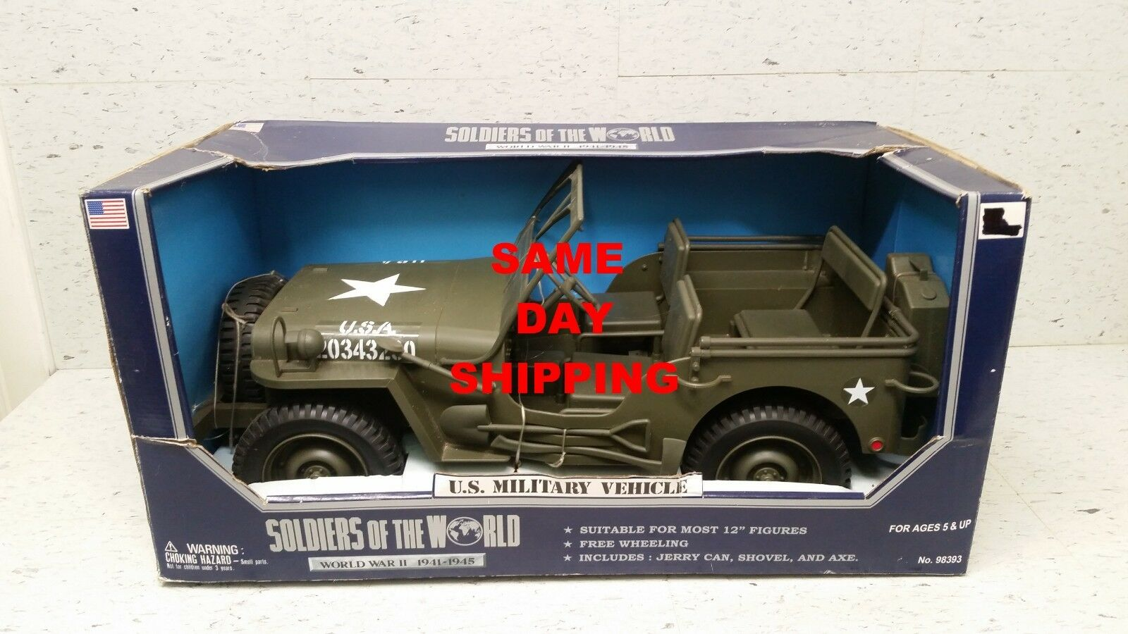 U.S. MILTITARY VEHICLE SOLDIERS OF WAR JEEP WWII 1941-1945  ITEM 800309-R1