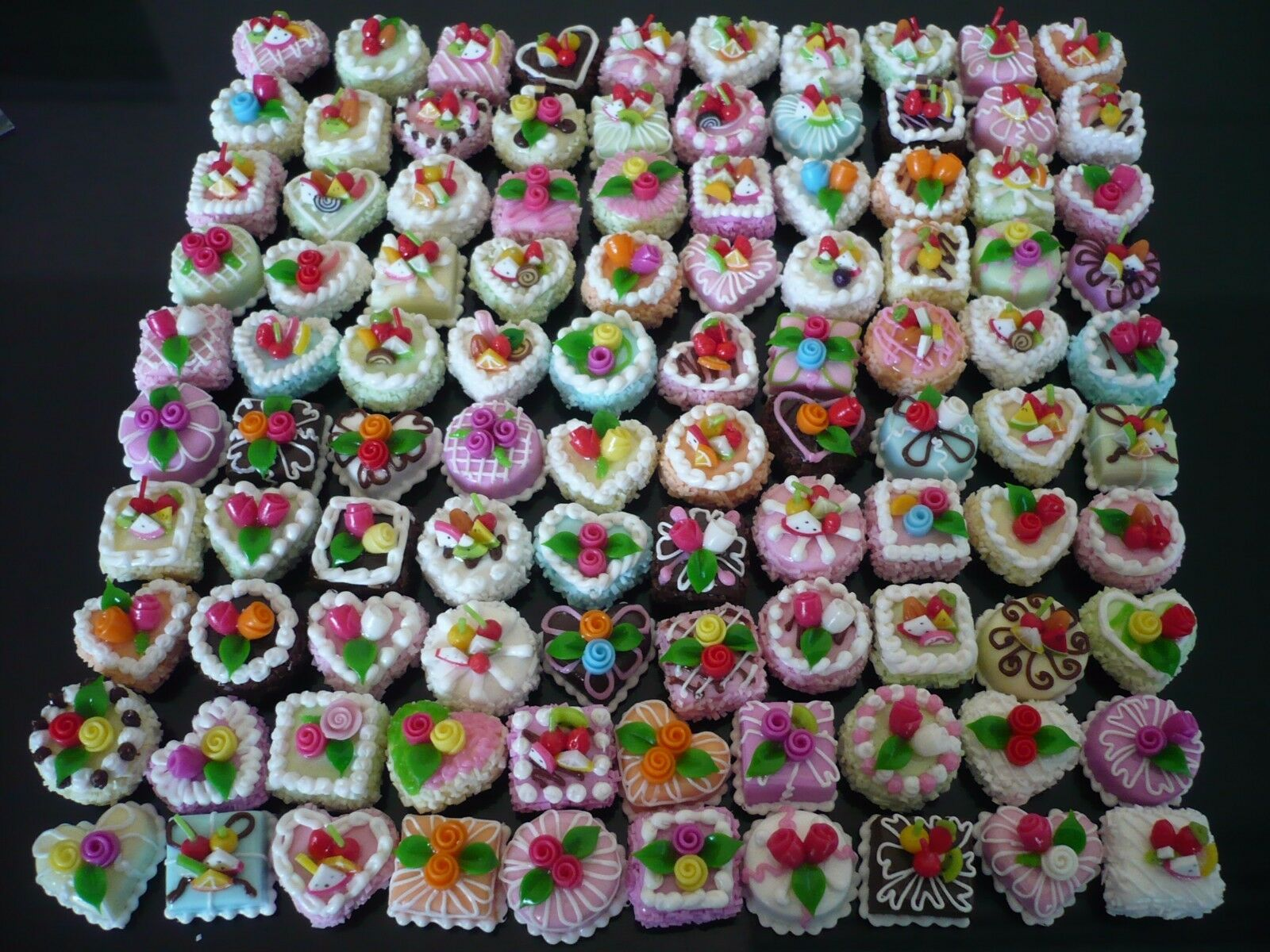 100 Mini Cakes Handmade Dollhouse Miniatures Food Supply Deco-2