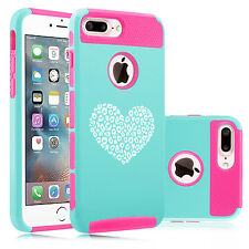 For iPhone 6 6s 7 Plus Dual Shockproof Hard Case Cover Leopard Print Love Heart