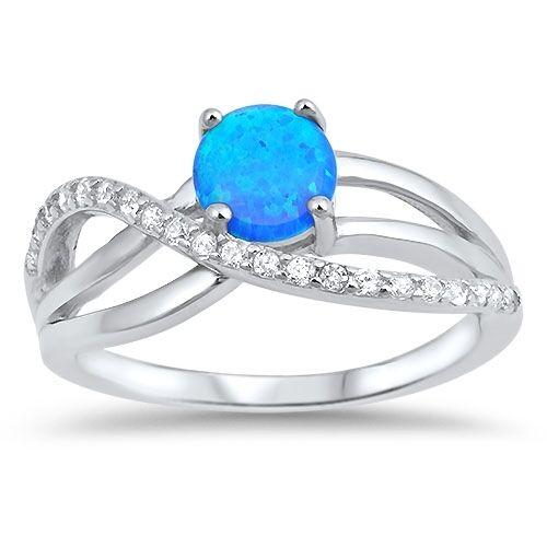 Bleu arrondi ou Opale Blanc Zircone cubique Infini Love ring-sterling silver