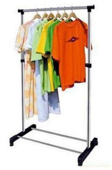 Portable Single Pole Telescopic Clothes Rack Clothes Dryer Shoe Rack Wheels