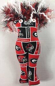 Georgia-Bulldogs-Homemade-Doll-11-034-Plush-Sewn-Crazy-Yarn-Hair-Button-Eyes-UGA