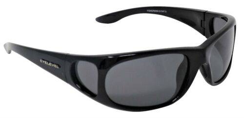Side Shields Fisherman Sunglasses Polarized Grey Cat-3 UV400 Lenses