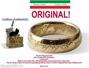 LORD OF THE RINGS L' UNICO ANELLO SCRITTE ORO Ver. 18 MM Il Signore Degli Anelli