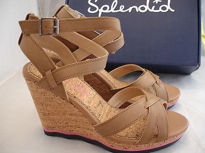Womens SPLENDID Light Brown Leather Wedge Platform Sandals Sz 11 NIB $118