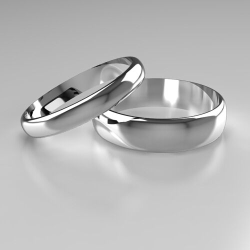 New 9ct White Gold D-Shape Band His & Hers set of Wedding Rings 4mm + 6mm