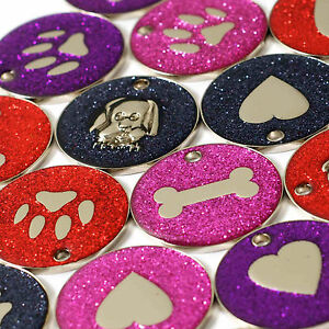 Dog-ID-Tags-LARGE-32mm-Reflective-Glitter-PET-Tag-14-COLOURS-ENGRAVED-OPTION