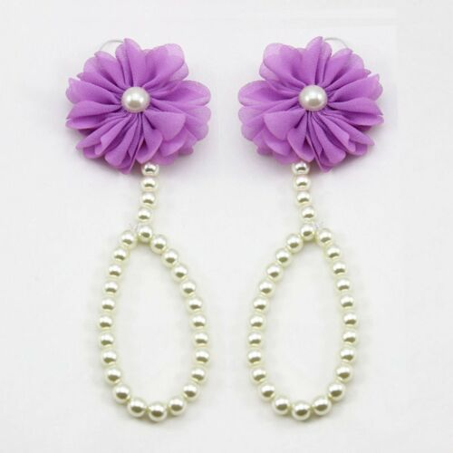 Newborn Kids Baby Girl Infant Sole Crib Barefoot Ring Sandals Flower Pearl Shoes