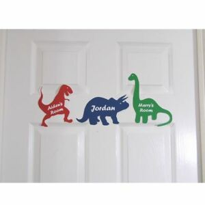 Image is loading Personalised-Door-Name-Sign-Plaque-Children-039-s-  sc 1 st  eBay & Personalised Door Name Sign Plaque Children\u0027s Dinosaur Bed Room Sign ...
