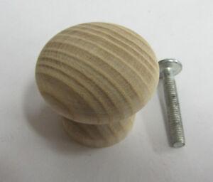Pomello pomolo in legno x mobili armadi cassetti materiale faggio grezzo ø 30 mm