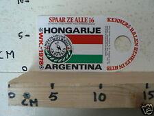 STICKER,DECAL WK ARGENTINA 1978 VOETBAL,SOCCER JH HENKES HONGARIJE HONGARY A