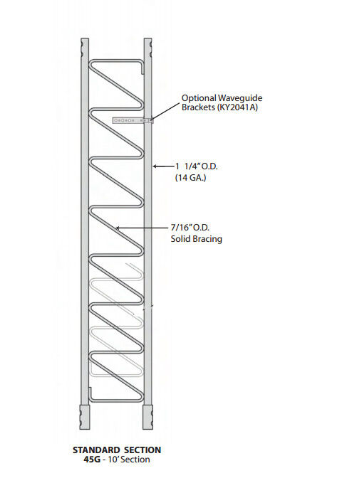 45G, R-45G antennapartsoutlet1 ROHN 45G 10' Tower Section - Standard 45G Tower Section - NEW OEM R-45G