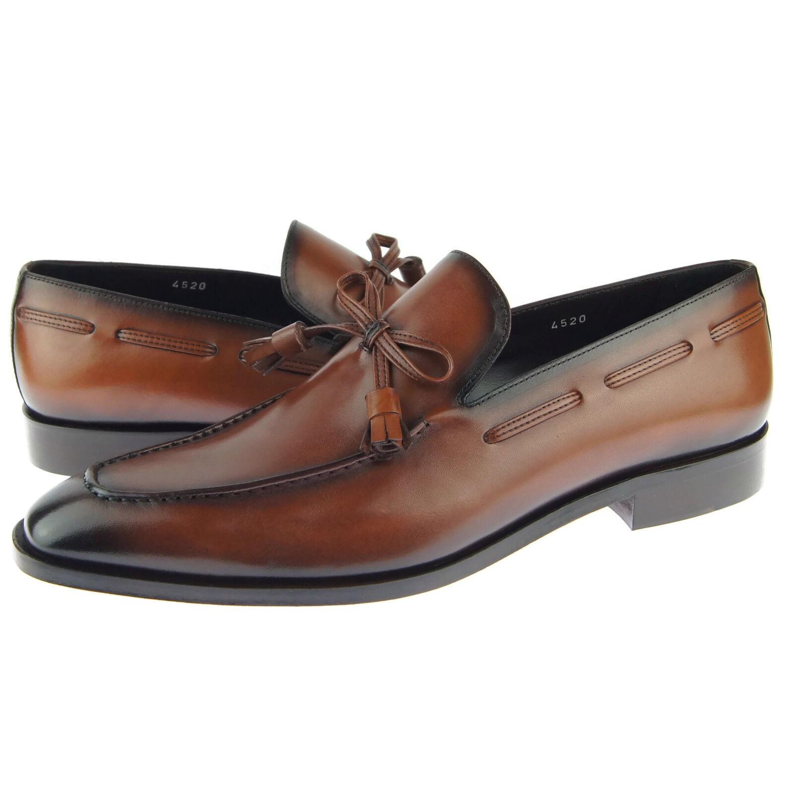 Corrente 4520 Tassel Loafer, Men's Dress Slip-on Leather shoes, Tobacco