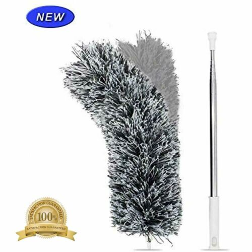 """Microfiber Duster With Extension Pole Extra Long 100 Inches /"""" Stainless Steel"""