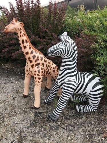 Inflatable Zebra Giraffe Stuffed Animals Wild Jungle Zoo Museum Kid Toy Party