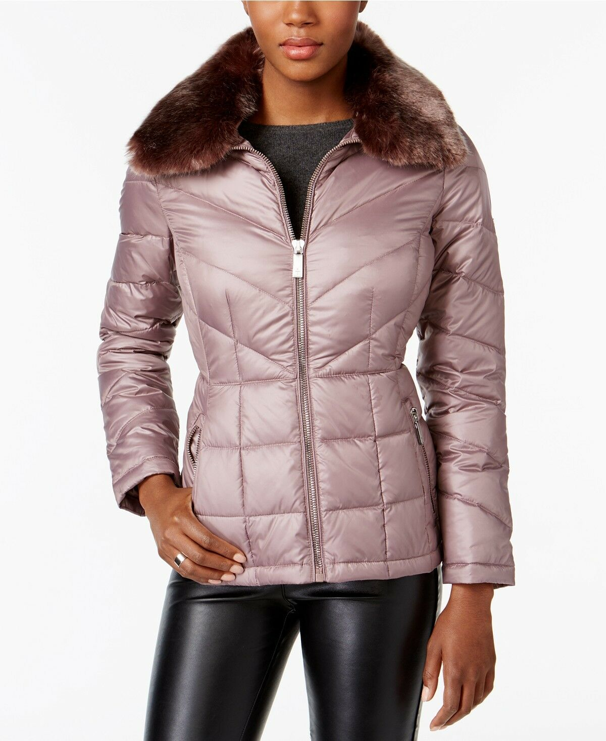 Kenneth Cole Faux-Fur-Collar Down Puffer Puffer Puffer Coat Dusty pink M  200 2435d8