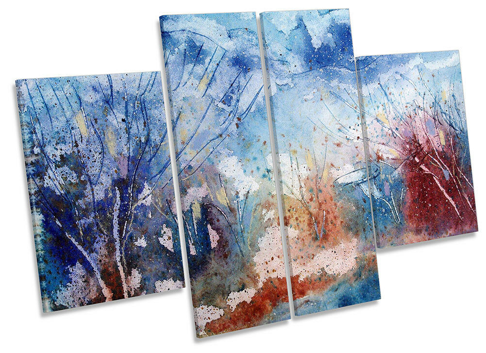 Abstract Watercolour Landscape Framed CANVAS PRINT Four Panel Wall Art
