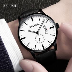 BELUSHI-Uomo-Sport-cronometro-in-pelle-band-calendario-impermeabile-al-quarzo-Orologio-da-polso