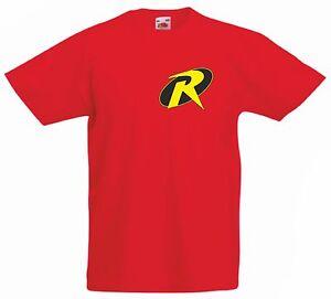 Robin-batmans-Sidekick-Kid-039-s-red-100-coton-fruit-of-the-loom-Cartoon-T-Shirt