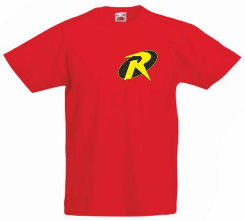 ROBIN Batmans sidekick Kid/'s red 100/% Cotton Fruit of the Loom cartoon T Shirt