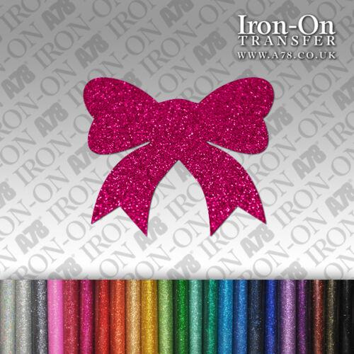 Glitter Bow IRON-ON FABRIC TRANSFER SEQUIN T-Shirt Sticker Birthday shape Baby