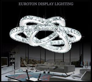LED-Pendelleuchte-3210-30-50-70cm-2-amp-3-Ringe-K9-Kristall-chrom-kaltweiss-A