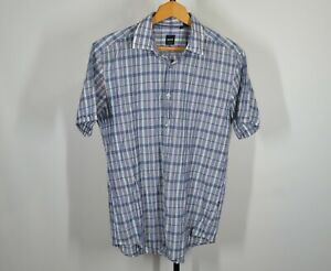 Hugo-Boss-Large-Slim-Short-Sleeve-Button-Front-Camp-Shirt-Blue-Plaid