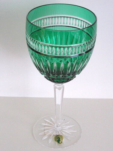 WATERFORD Clarendon SERENITY LANGUAGE JEWELS EMERALD CUT TO CLEAR GOBLET signed