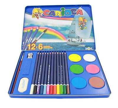 Estuche pinturas lapices colores 12+6 acuarelas sacapuntas borrador escolar