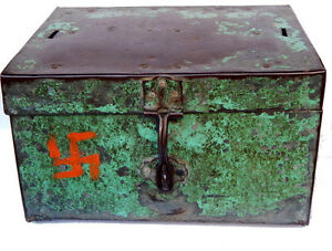 Coffre-Fort-Commercant-Ancien-Metal-4-5kg-32x25x18cm-Inde-Tha-in-daga