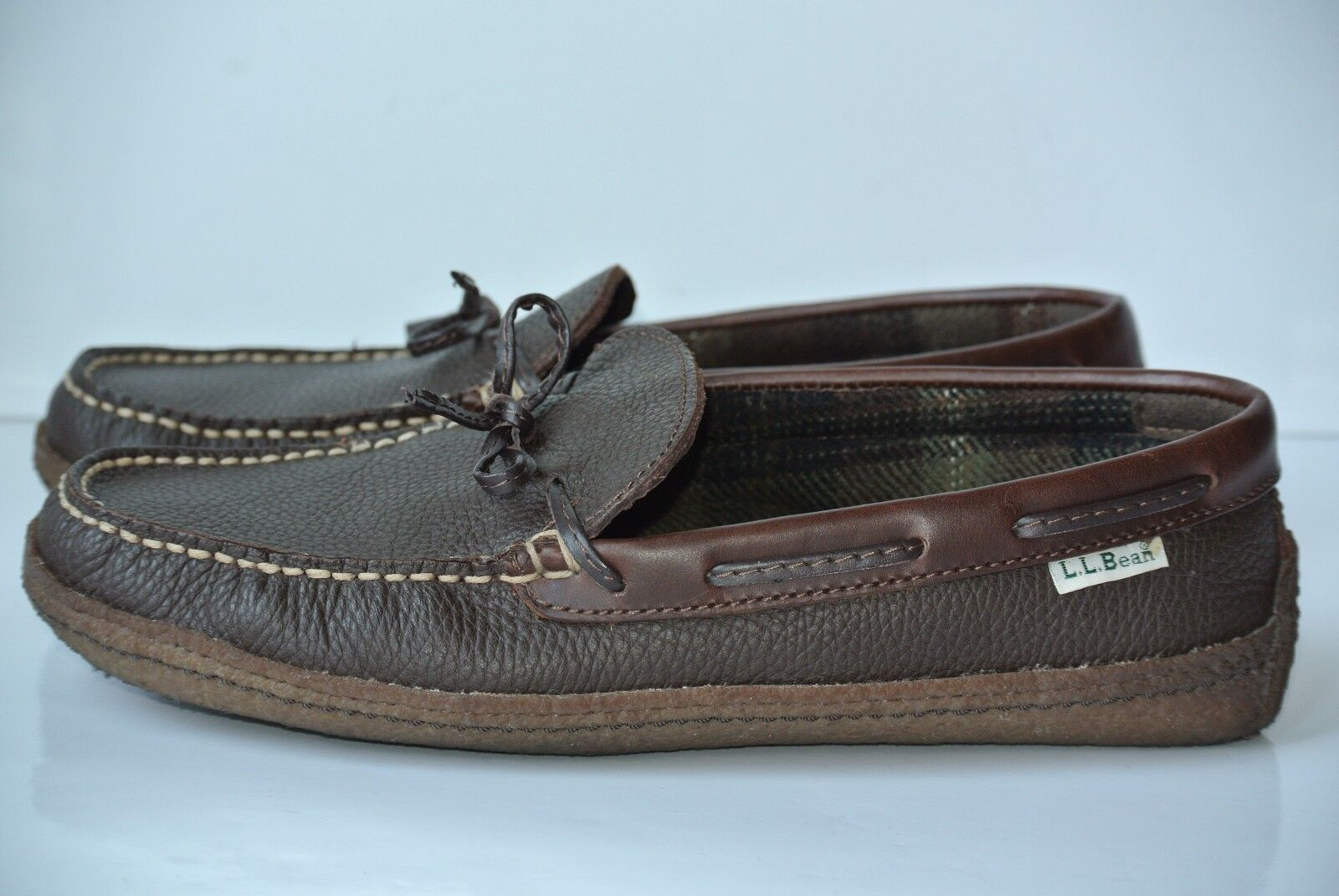 LL BEAN Womens Sz 10 M M 10 Brown Leather Fleece Lined Camp Moc Slipper Shoes ace6c7