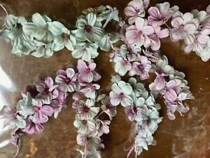 Vintage Mini Lilac Cotton Millinery Flowers 1pc Aqua Rose Made in Japan