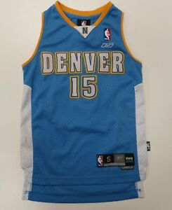 best loved 5c8d4 1f6c9 Details about Reebok Denver Nuggets Carmelo Anthony #15 Blue NBA Jersey  Youth Small 8 Sewn