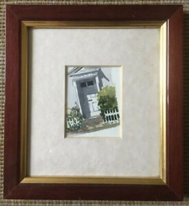 John-Whurr-Painting-Of-A-Front-Door-Garden-Signed-Mounted-And-Framed