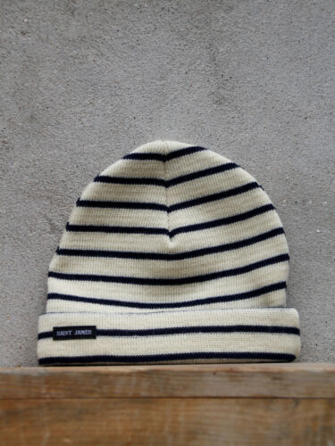 Stripey Knit Hat by Saint James in Cream and Navy 100/% Wool Made in France