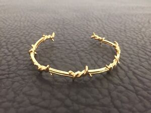 Details About Ron Herman Stainless Steel Gold Plated Barbed Wire Punk Rock Mens Cuff Bracelet