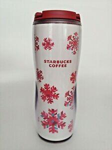 Starbucks Red Pink Snowflake Travel Flip Top Tumbler 08 16 Oz Glisteny Snow New Ebay