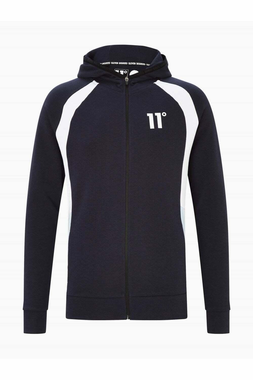 11 Degrees Cut & Sew Side Panel Full Zip Hoodie Navy / White / Powder Blue