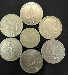 made in the USSR in 1970,russian antiques Collectible Set of 6 metal Soviet coins 1 ruble