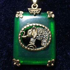 Handmade Green Jade Elephant Pendant Beaded Necklace Jewelry Women Gift A112