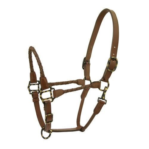 Western Marronee Leather Softy Braided Halter with Brass Fitting
