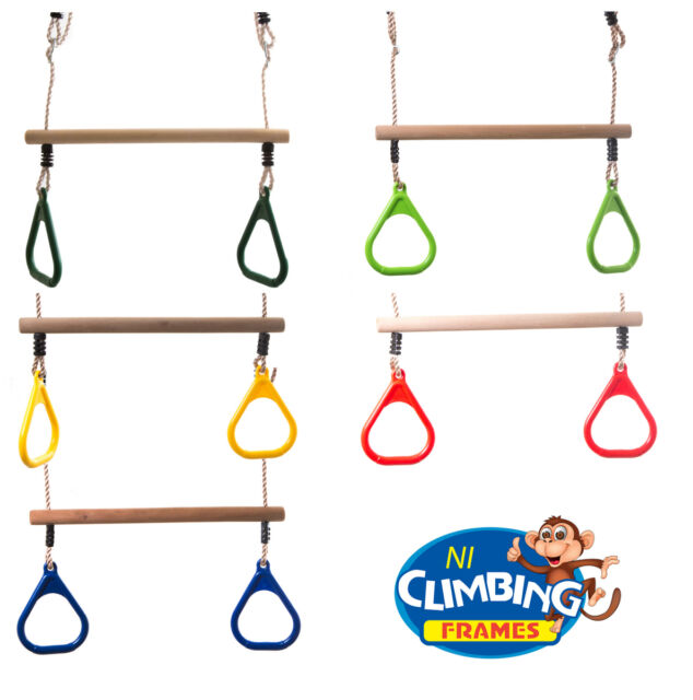 Plum/® Indoor Outdoor Kids Wooden Trapeze Swing with Yellow Gym Rings