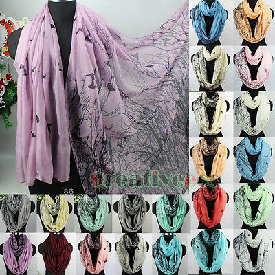 Fashion Women's Birds Trees Animal Print Viscose Long Shawl/Infinity Loop Scarf
