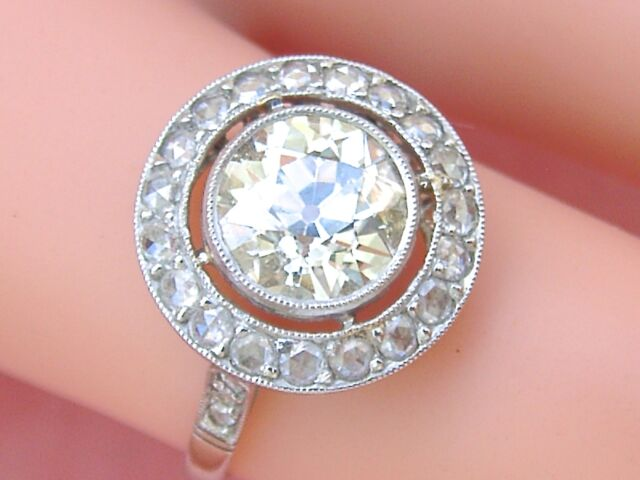 ANTIQUE ART DECO 1.70ct OLD EUROPEAN FLOATING DIAMOND HALO ENGAGEMENT RING 1920